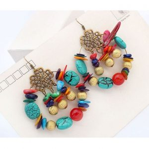 Bohemia Style Color Beads Statement Drop Earrings