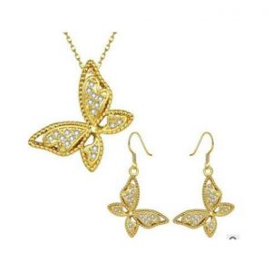 Butterfly chain necklace with earings- gold and bronze