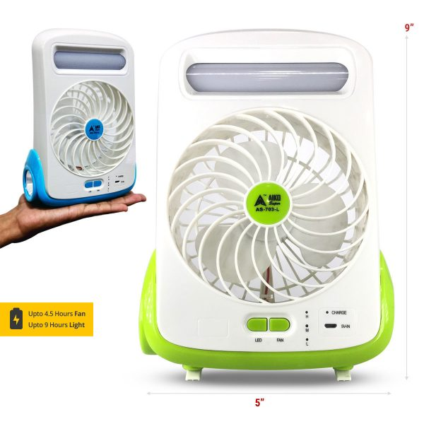 AIKO SUPER AS -703 -L Mini fan with torch and LED light