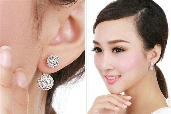 Almei Cute White Crystal Earrings Silver
