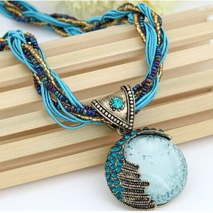 Boho Reiki Opal Stone Pendant Necklace -Light Blue