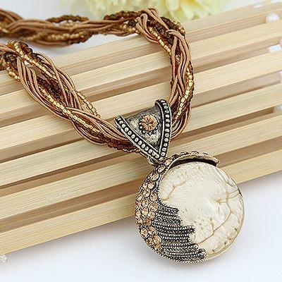 Boho Reiki Opal Stone Pendant Necklace- Off White