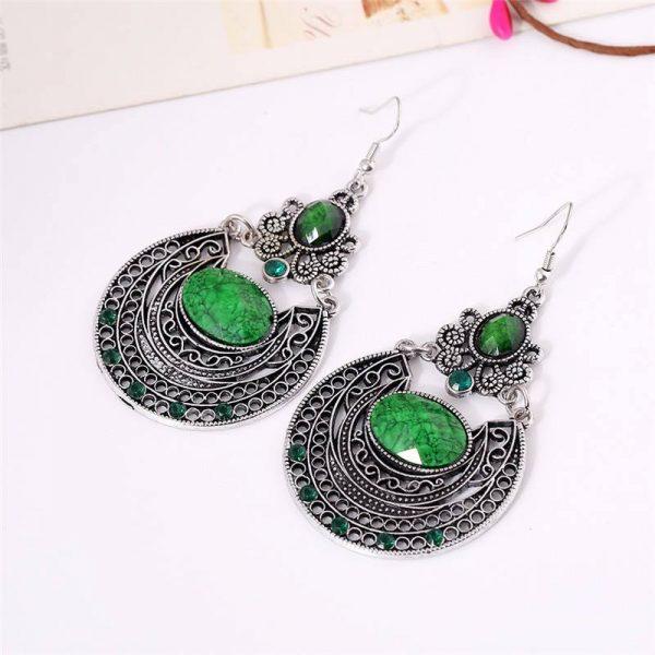 Vintage drop earrings -Green