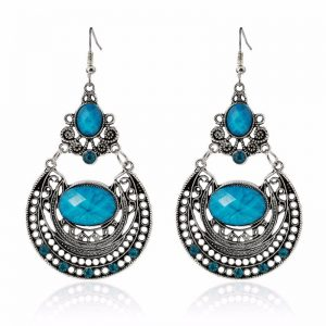 Vintage drop earrings -Blue