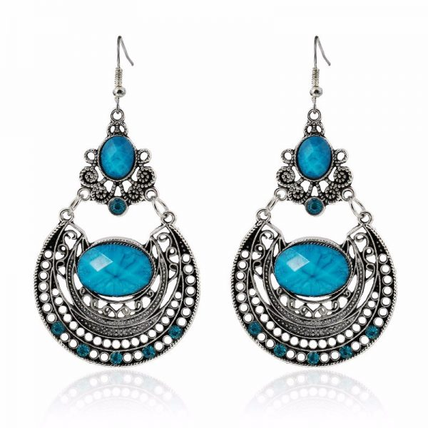 Vintage drop earrings -Blue
