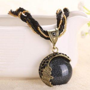 Boho Reiki Opal Stone Pendant-Necklace -Black