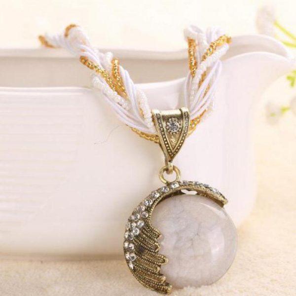 Boho Reiki Opal Stone Pendant Necklace -White