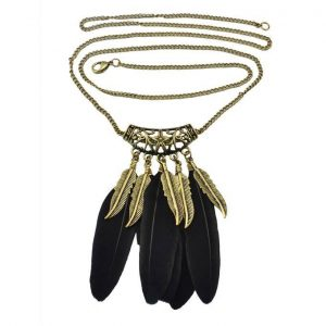 Feather Necklace -Black