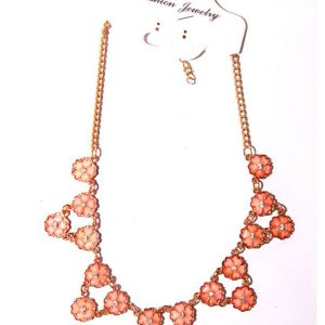 Gold plated necklace pink