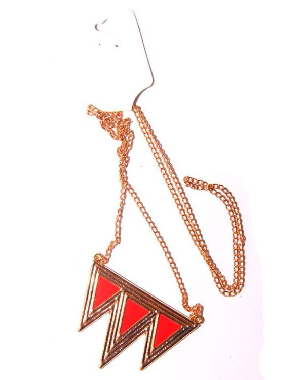 Geomatric Long necklace -Red