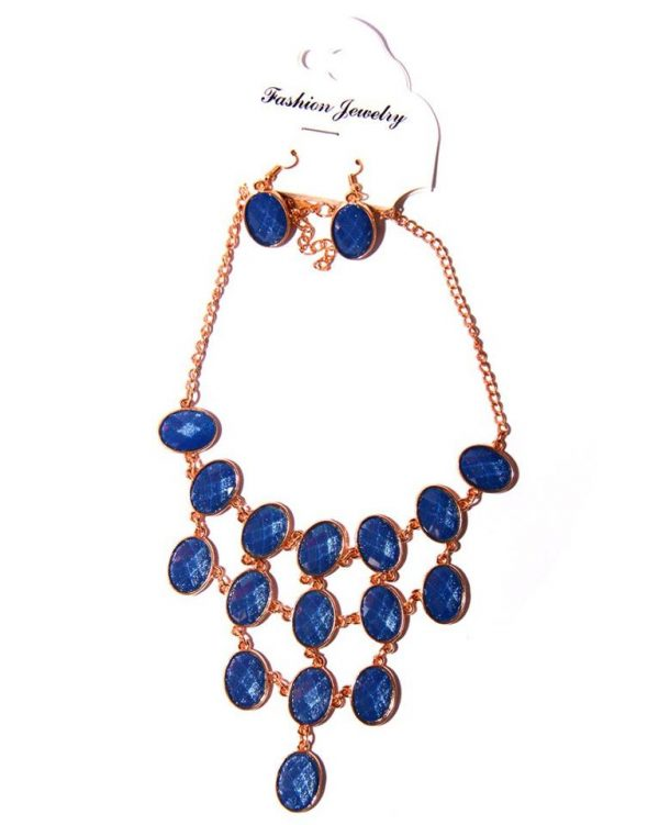 Gold plated layered necklace blue