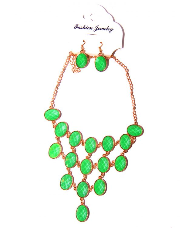 Gold plated layered necklace with earrings