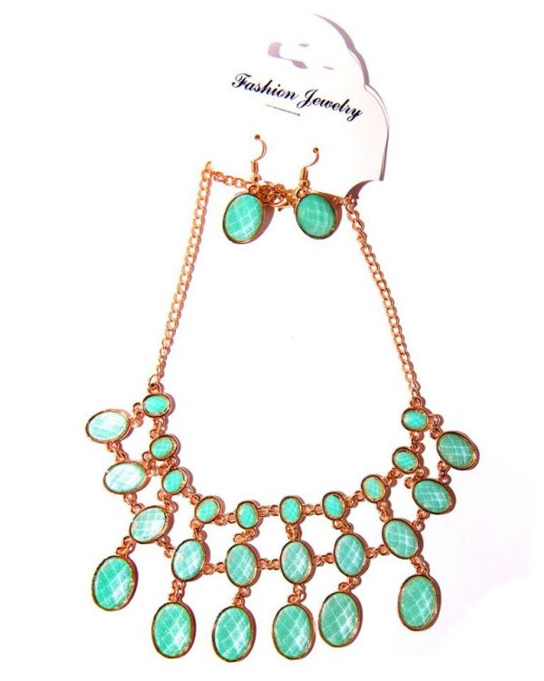 Gold plated layered necklace light jade green