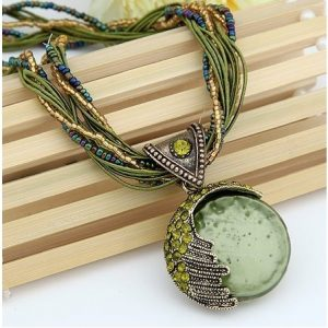Boho Reiki Opal Stone Pendant Necklace -Green