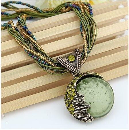 Boho Reiki Opal Stone Pendant Necklace -Green