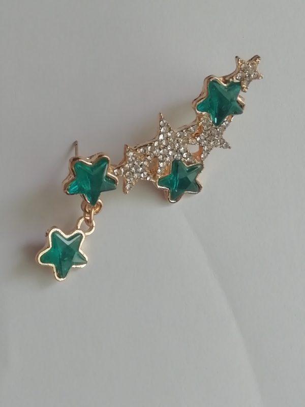 Green crystal rhinestone earing