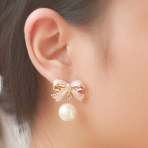 Bow Earring With Pearl Drop