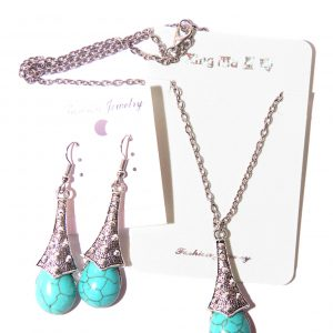 Vintage Blue Turquoise Tassel Necklace With Earrings