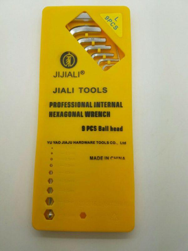 9 Pcs Ball Head JIJIALI TOOLS - ( PROFESSIONAL INTERNAL HEXAGONAL WRENCH )