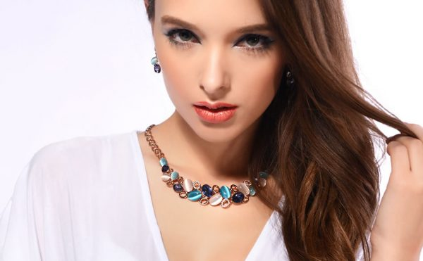 Viennois Rose Gold Crystal Rhinestone Necklace and Stone Earrings