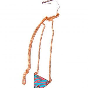 Necklace long pink and blue pendant
