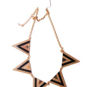 Triangle short choker necklace-Black