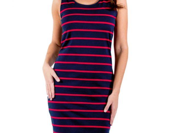 Strip Breast Feeding Dress - RED AND BLACK S