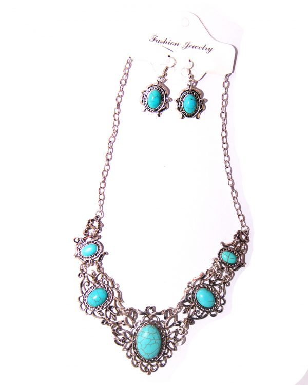 Vintage Bohemian necklace blue stone with earrings