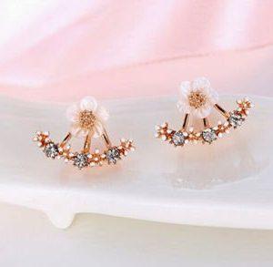 Zircon Crystal Daisy Flower Stud Earrings -Off Gold