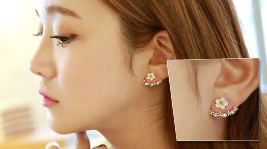 Zircon Crystal Daisy Flower Stud Earrings - Gold