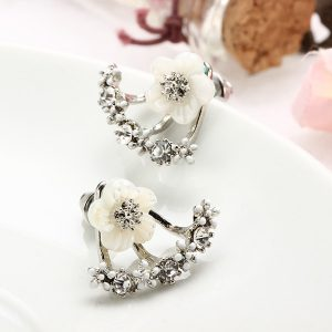 Zircon Crystal Daisy Flower Stud Earrings -Silver