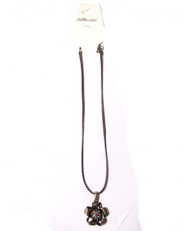 Black cord necklace with flower pendant