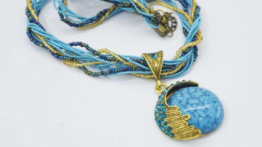 Boho Reiki Opal Stone Pendant Necklace -Light Blue