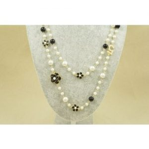Double layer long pearl necklace