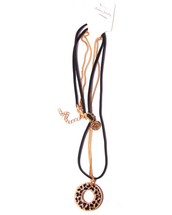 Double stranded gold plated chain and black cord with pendant