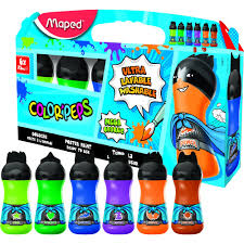 Maped Color'Peps Washable Paints 75ml bottles - Secondary Colour Pack (Pack of 6)