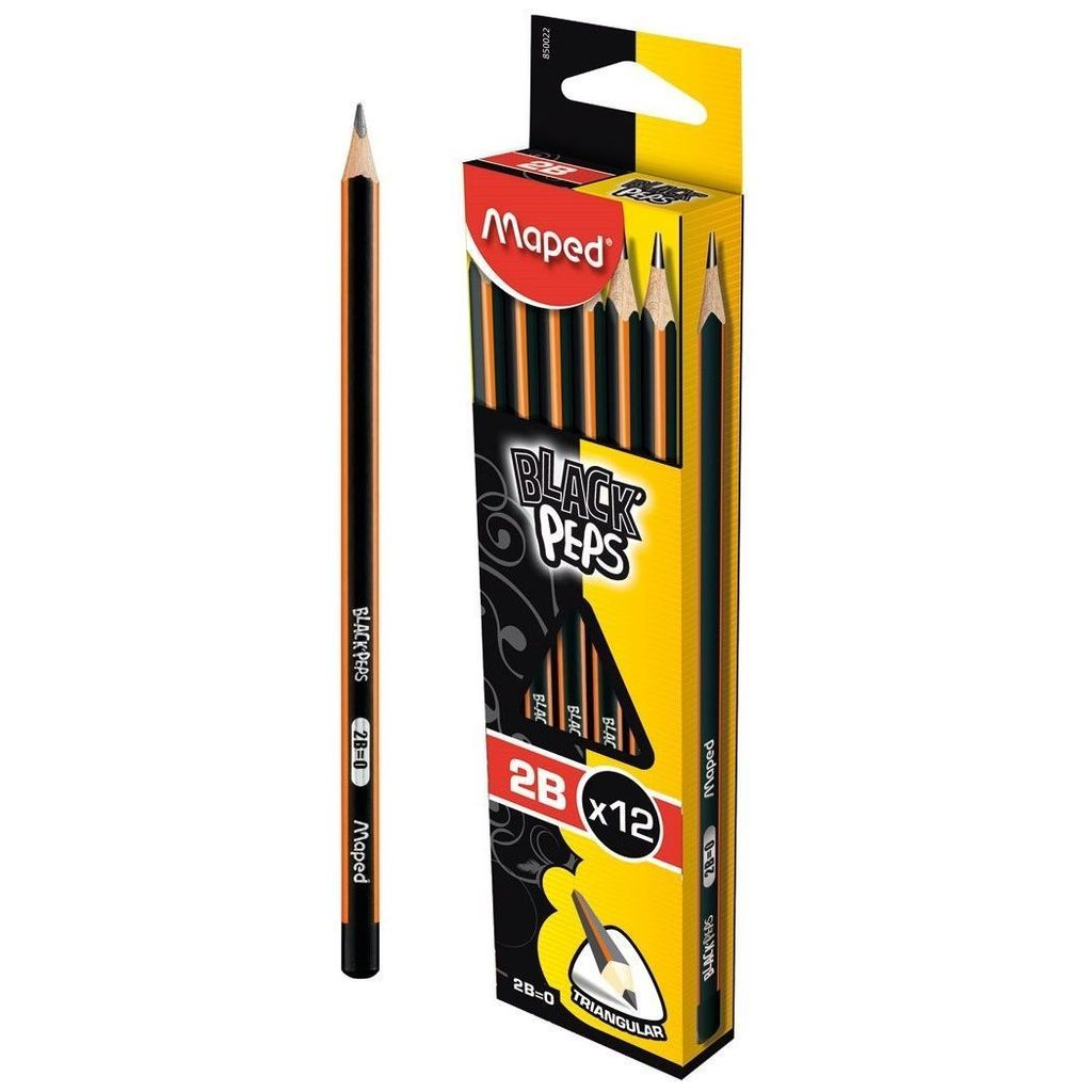 Maped - Black's Peps 12 Pencil Pack (2B)