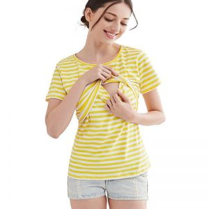 Nursing Tee - Green and Yellow M