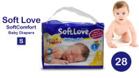 "28 Pack of ""Soft Love"" Baby Diapers - Small"