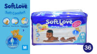 "36 Pack of ""Soft Love"" Baby Diapers - Medium"
