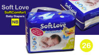 """26 Pack of """"Soft Love"""" Baby Diapers for New Born"""