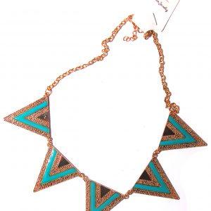 Triangle short choker necklace- Blue