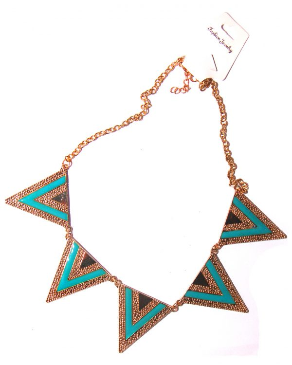 Triangle short choker necklace- Blue