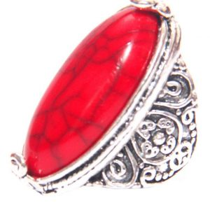Vintage Antique Silver Plated ring red