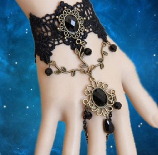 Womens black rose flower hand chain